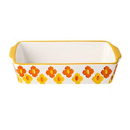 Goodvk Teglia Rettangolare Placca da Cucina in Ceramica Rettangolare in Ceramica Cottura al Forno al Forno Vassoio di Riso per Forno a microonde Multiuso (Colore : Yellow, Size : 20x10.5x4.5cm)