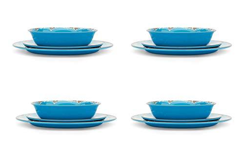 Fox Run Melamine Dinnerware Set, 12-Pieces, Dark Blue