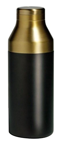 RBT Double-Walled Insulated Stainless Steel Cocktail Shaker and Strainer (Black/Gold)