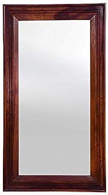 Furniseworld Sheesham Wood Wall Mirror (38 x 21 x 1.5 inch, Brown)