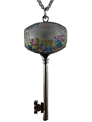 Halskette Kette silberfarben Schlüssel mit eingeschlossenen Straß Steinen Haustür Glas 779