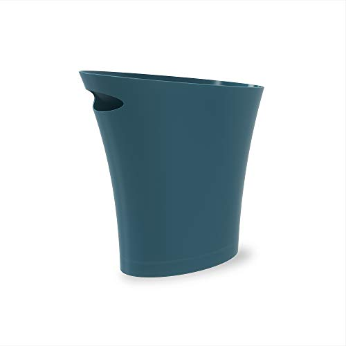 Umbra Skinny Sleek & Stylish Bathroom Trash, Small Garbage Can Wastebasket for Narrow Spaces at Home or Office 2 Gallon Capacity, Lagoon Blue