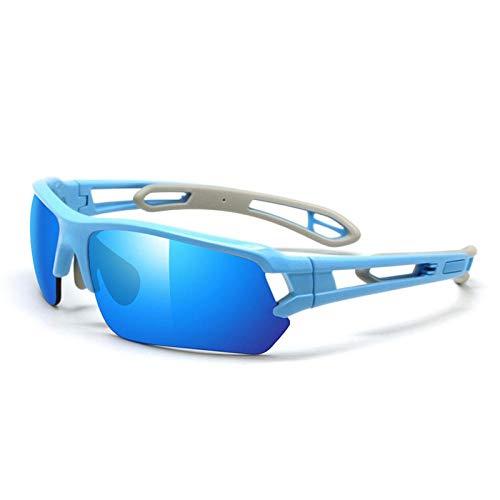 Huayuan Gafas de Sol con Lentes Intercambiables para Hombres Mujeres PC Marco Irrompible para Ciclismo Correr Pesca Golf Gafas de Béisbol Golf Gafas de Béisbol-azul cielo