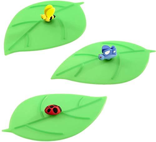 Lurch 210180 Mein Deckel Blatt 3-er Set (Biene, Schmetterling, Marienkäfer), Glasabdeckungen aus 100% BPA-freiem Platin Silikon, 10,5 x 12,5 cm