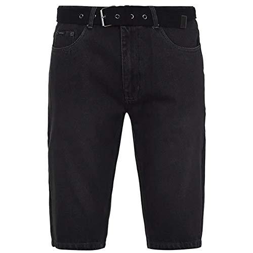 Pierre Cardin Herren 100% Baumwolle Denim Knielange Shorts mit Canvas gewebt (XL, Black)