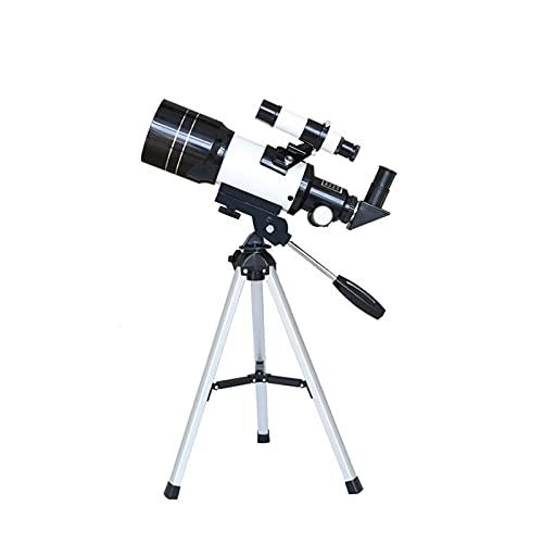 JIEPPTO Telescopio astronómico 150X con trípode, observación del espacio del estudiante, monocular de gran angular de 70 mm, rotación de 360 °