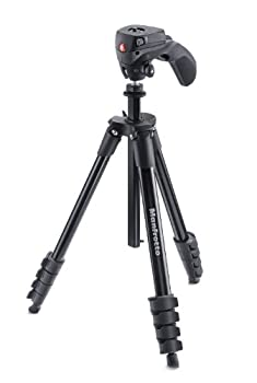 Manfrotto Compact Action Aluminum 5-Section Tripod Kit with Hybrid Head Black MKCOMPACTACN-BK