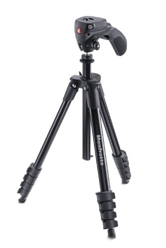 Manfrotto Compact Action Aluminum 5-Section Tripod Kit with Hybrid Head, Black (MKCOMPACTACN-BK)