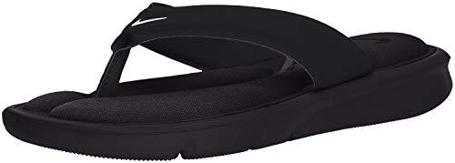 NIKE Women's Ultra Comfort Thong Athletic Sandal, White Black - Black, 6 B US