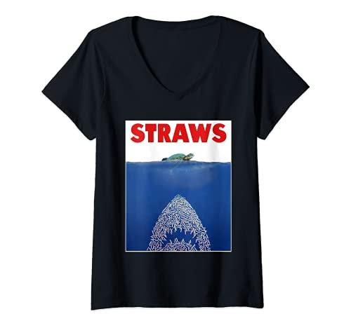 Donna Save The Sea Tartarughe Conservation Gift Shirt Anti Cannucce Maglietta con Collo a V