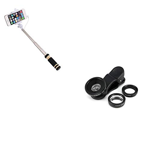 Kit Foto per Motorola Moto G 2G Smartphone (Mini Selfie Stick + Obiettivo Pinza 3 in 1) Android iOS Pulsante