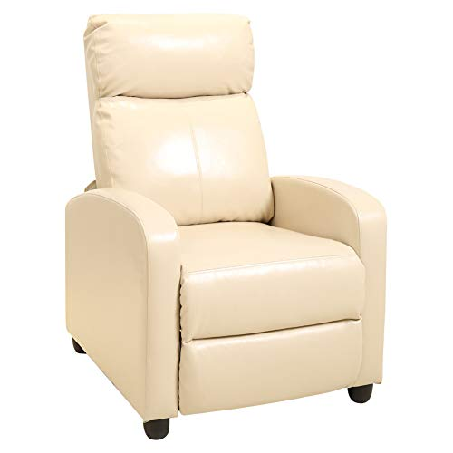 INMOZATA Recliner Sofa Bed Chair Adjust High Wingback Reclining Armchair PU Leather Occasional Tub Chairs for Living Room Bedroom (Beige)
