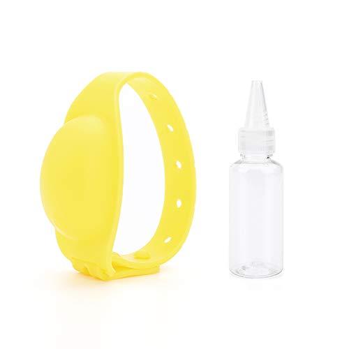 Deciniee Pulsera Desinfectante de Manos,  Pulsera para Niños Adultos, Dispensador de Jabón de Manos, Reloj de Silicona Portátil, Pulsera Dispensadora de Líquido de 13 Ml para Viajes Al Aire Libre Amarillo