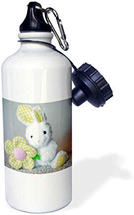 GFGKKGJFD603 - Sello de la ciudad, diseño de conejo de peluche con texto en inglés 'Holiday - Photograph of a Cuddly White Stuffed Bunny Holding a Plaid Flower' Botella de agua deportiva de aluminio blanco con pajita