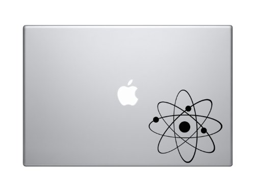 "Science Icon #1 - Atom Proton Electron Nucleus Molecule Lab - 5"" Black Vinyl Decal Sticker Car Macbook Laptop"