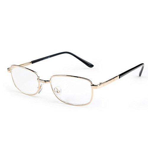 Inlefen Metallrahmen-Rechteck-Lesebrille-Weinlese eyewear mit Fall +6.00