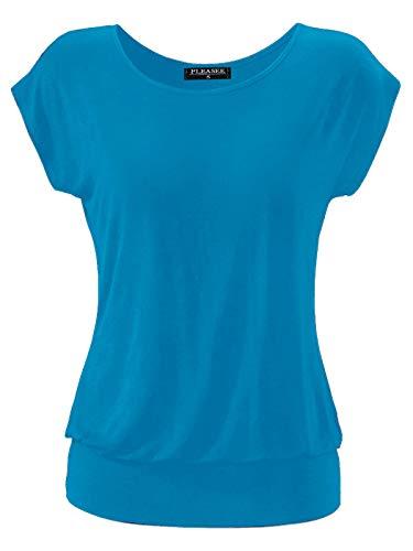 Fleasee Damen T-Shirt Kurz Ärmel Bluse Stretch Lässig Tunika Allover Druck Oberteile Top XL Türkis