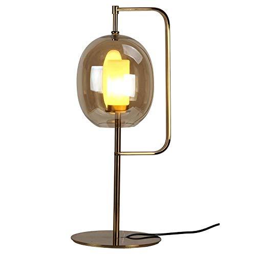 GDICONIC Lámpara de Mesa Lámpara de Dormitorio de Noche de Sala de Estar de Vidrio cilíndrico de Arte de Hierro de Hardware Creativo posmoderno (Color:Dorado) (Color : Gold)