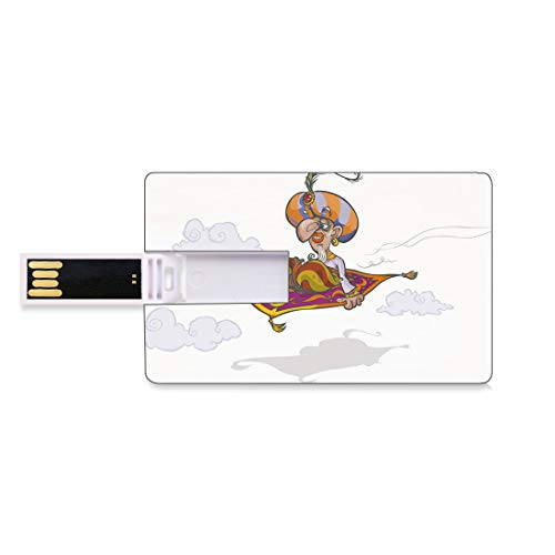 8GB USB-Flash-Thumb-Laufwerke arabisch Bank Kreditkarte Form Business Key U Disk Memory Stick Speicher Karikatur-Magier Flying auf magischem Teppich-Himmel mit den orientalischen persischen Märchen d