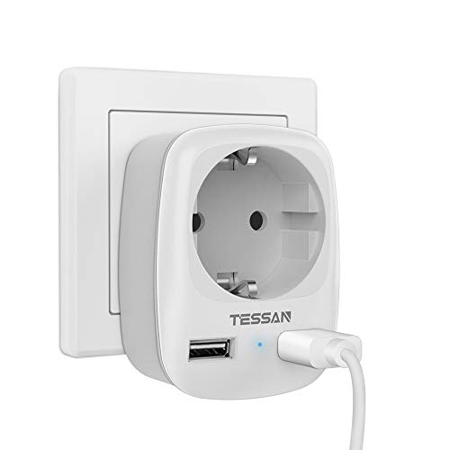TESSAN Enchufe USB pared, Ladron Enchufes (4000W) con Doble USB y 1 Toma de CA Schuko, Cargador USB Multiple Pared Adaptador Enchufe USB España, Ladron con USB y Multiplicador Enchufe con USB-Blanco