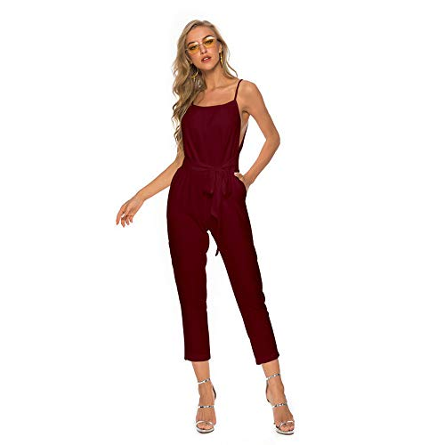 FONMA Women Sexy Plus Size Solid Sashes Camis Long Loose Jumpsuit Bodysuit Red