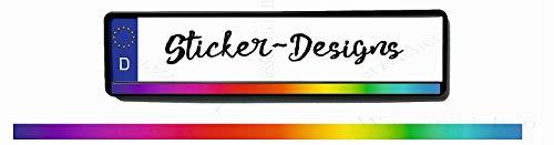 2Stück!50x2,5cm! Aufkleber/Klebe-Streifen für Kennzeichenhalter!Regenbogen verlauf K41-UV&Waschanlagenfest-Auto-Vinyl-Sticker Profi Qualität-Kratzfest!