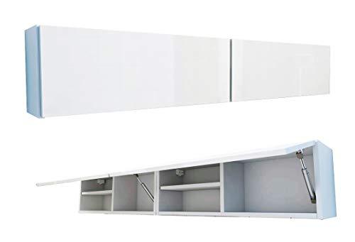 RODRIGO Badschrank 160 x 30 x 25 cm Badmöbel Badezimmer Hängeschrank Schrank Hänger Hochglanz 160cm (korpus matt weiß + weiß Hochglanz, 160x30x22)