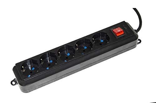 LINK LKMP053N - Regleta de 5 Tomas universales Ita/Schuko 10/16 A, Enchufe de 16 A, con Interruptor, Cable de 3 m, Color Negro