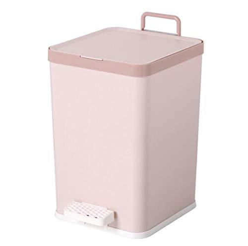 Toho Cubo de Basura Pequeño/Papelera de Cocina, Bote de Basura de Plástico Papelera para Basura en el Hogar u Oficina, Papelera de Oficina A/Rosa / 6L