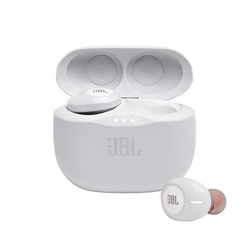 JBL TUNE 125TWS Cuffie In-Ear True Wireless Bluetooth, Auricolari senza Fili con Microfono Integrato per musica.Chiamate e Sport, Fino a 32h di Autonomia, Custodia di Ricarica, Colore Bianco