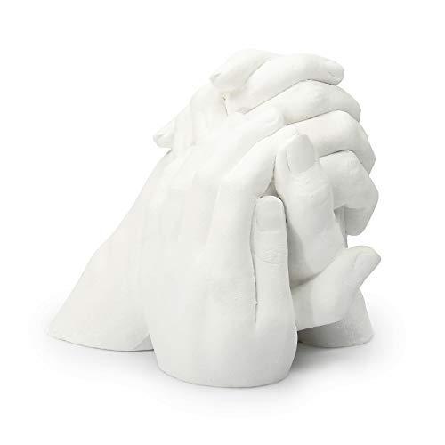 Lucky Hands Family Abformset Trio | 3D Familien Handabdruck DIY Set für 3 Erwachsenenhände | Gipsabdruck Familie | Auch für Kinder und Jugendliche (ohne Schiefersockel)