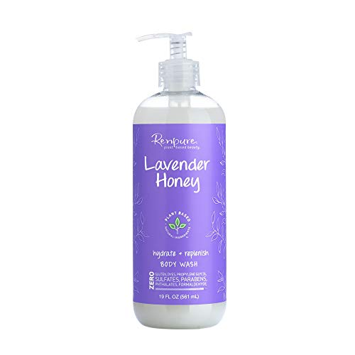 Renpure Plant-Based Organic Lavender Body Wash – Natural Lavender, Manuka Honey & Coconut Oil for Body – Sulfate Free, Moisturizing Shower Gel & Sensitive Skin Body Wash with Pump for Women, 19 Oz.