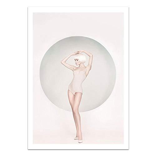 U/N Chica Conejo Blanco crisantemo Lienzo Pintura póster e impresión Sala de Estar Cuadro de Arte de Pared para habitación decoración del hogar-6