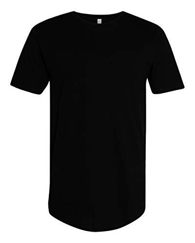 TOP LEGGING Curved Hem Bottom Longline Hipster Hip Hop Crewneck Casual Short Sleeve T-Shirt Black M