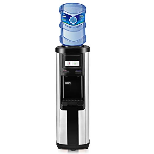 Product Image of the Costway Water Cooler Dispenser 5 Gallon Top Loading Water Dispenser Stainless Steel Freestanding Water Cooler W/Hot and Cold Water (Black and Silver)
