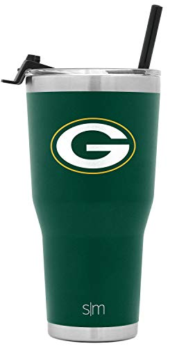 Simple Modern NFL Green Bay Packers 30oz Tumbler with Flip Lid and Straw Insulated Stainless Steel Travel Mug Classic