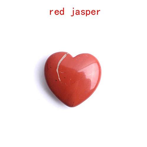Miner 1Pc Cristal Natural Colgante en Forma de corazón Amatista Fluorita Collar de Piedras Preciosas Regalo de curación Reiki, corazón Rojo de Jaspe de 3 cm