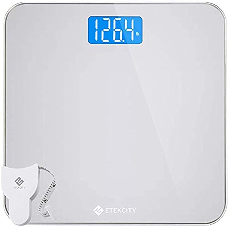 Etekcity Digital Body Weight Bathroom Scale With Body Tape Measure And Round Corner Design Large Blue LCD Backlight Display High Precision Measurements 400 Pounds