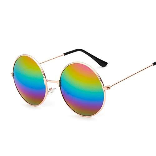 N\A Gafas de Sol de Moda Moda Retro pequeñas y Redondas Gafas de Sol de Las Mujeres de la Vendimia Sombras Negro Metal Gafas de Sol for Mujeres (Lenses Color : Multicolored)