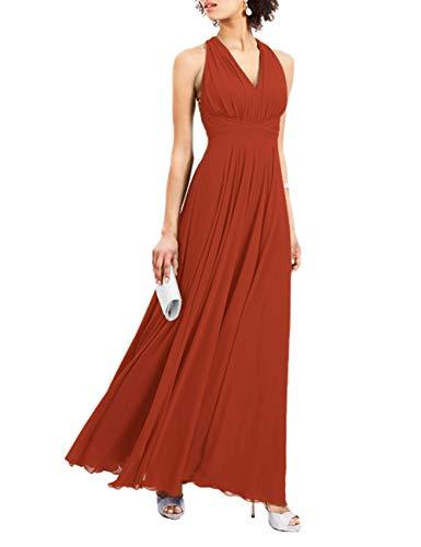 HUINI Damen Lang Ballkleid für Hochzeit Brautjungfernkleider Chiffon Neckholder Abendkleid A-Linie Sommerkleider Rostrot 36