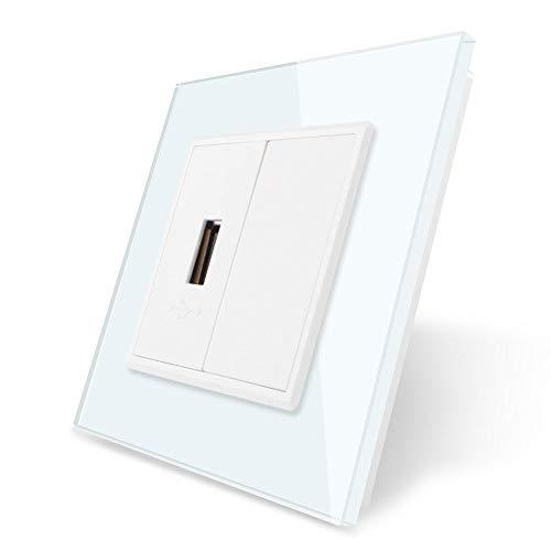 LIVOLO USB-contactdoos USB-doos met glazen deksel VL-C7-1USB-11 + VL-C7-SR-11-A wit