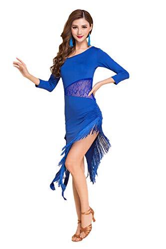 Jonact Dames Mesh Latin Dansjurk - Ballroom Danskleding Kant Omzoomde Jurken Korte/Lange Mouw met Broek voor Salsa Tango Danskostuum