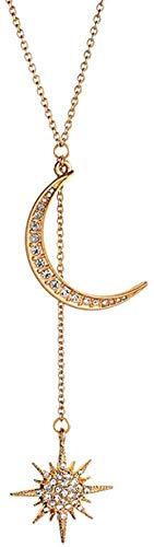 OlovdHit Collar Collar Mujer Cadena Estrella Y Luna con Collar De Cadena Colgante De Collar Largo Aniversario De San Valentín