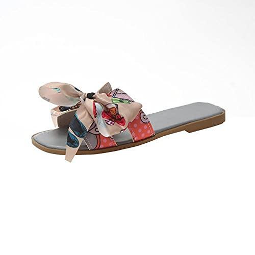 Sandalias para mujer con diseño floral para interiores y exteriores, sandalias de playa, zapatillas de mujer para ir de compras, caminar al aire libre e interior accesorios, gris, 41 EU