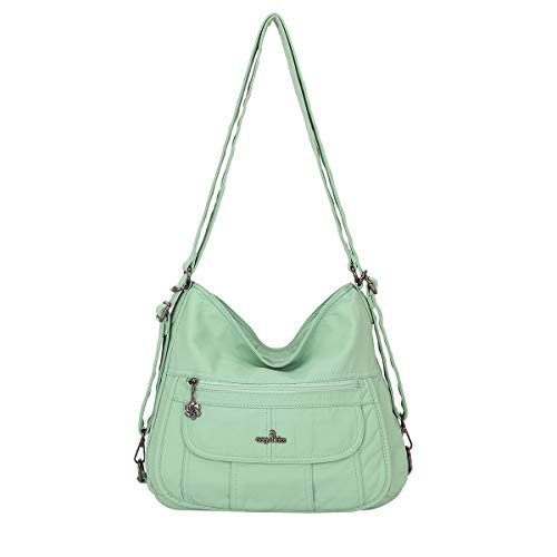 angel kiss Satchel Handbag for Women, Ultra Soft Washed Vegan Leather Crossbody Bag, Shoulder Bag, Tote Purse (ZC0118-5G#34/6802#12BLUE/J.BLUE) (angelkiss#A-0105#N162#121L.GREEN)