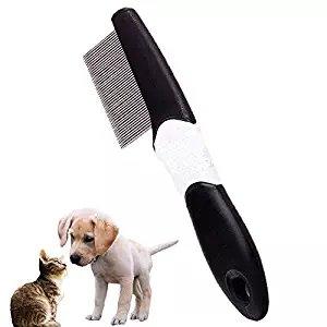 Herramienta de aseo para mascotas. Peine antipulgas de dientes extrafinos para perros y gatos, adultos y cachorros, pelo largo y corto.