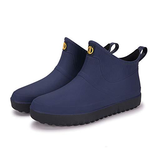 Semo1musレインシューズ メンズ レインブーツ ショートシューズ 雨靴 サイドゴア 防水防雨 梅雨対策 軽量 滑り止め 大きいサイズ 晴雨兼用 アウトドア カジュアル ゆったり ブルー