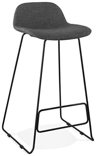 Taburete de bar STEELBLACK de tela gris diseño con patas de metal negro