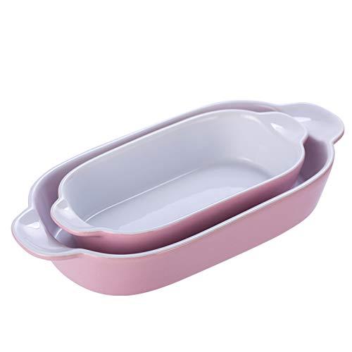 KVV Keramik-Backformen-Set mit 2 kleinen rechteckigen Tellern, Pfannen zum Kochen, Küche, Mini-Größe, 22,9 cm (pinkes 2er-Set)