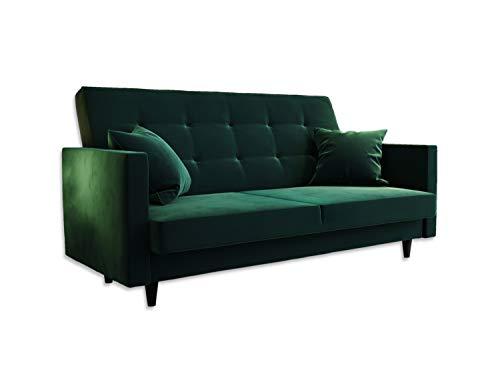 Sofa Grande PIK Sofasitz in Doppelversion Flaschengrün mit Bettkasten Couch Schlaffunktion Schlafsofa Polstersofa Couchgarnitur (Flaschengrün- Doppelversion)